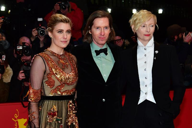 British actress Tilda Swinton (R) and US actress Greta Gerwig with US director Wes Anderson at the opening of the Berlinale (AFP Photo/John MACDOUGALL)