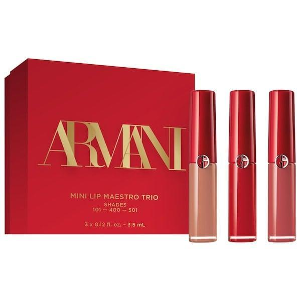 <p>This versatile <span>Armani Beauty Mini Lip Maestro Liquid Matte Lipstick Set</span> ($36) has beige, pink, and red shades to sample in different settings (and they're all long-lasting, too).</p>