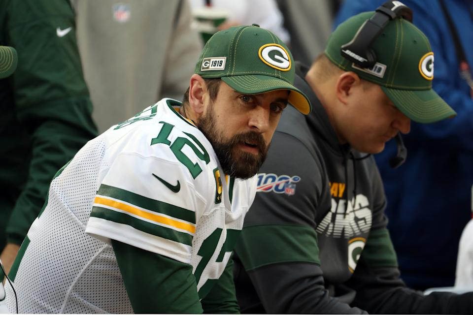 Green Bay Packers quarterback Aaron Rodgers may be tutoring his successor in first-round draft pick Jordan Love. (Photo by Kiyoshi Mio/Icon Sportswire via Getty Images)