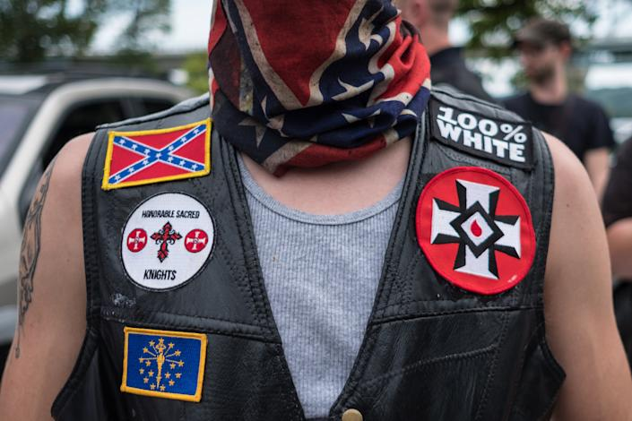 White supremacist racist organization Ku Klux Klan (KKK) members are seen during a rally in Madison, Indiana on August 31, 2019. (Megan Jelinger /Anadolu Agency via Getty Images)