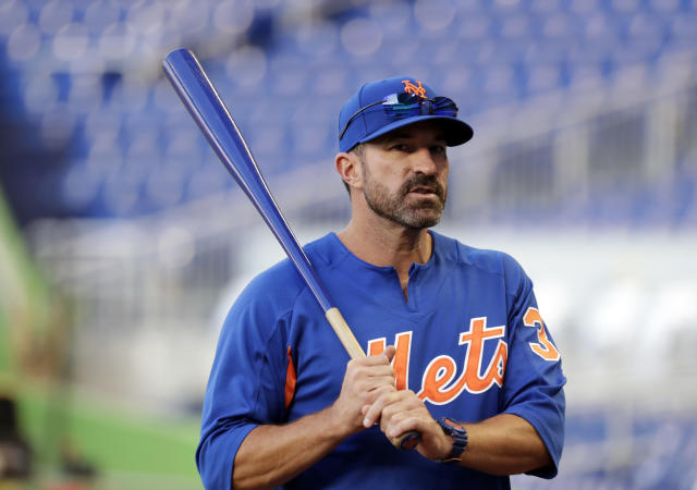 New York Mets manager Mickey Callaway stands on the field before a baseball game against the Miami Marlins, Monday, April 9, 2018, in Miami. (AP Photo/Lynne Sladky)
