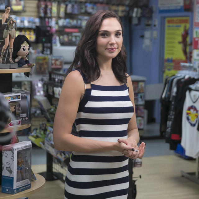 <p>Actress Gal Gadot pauses for a moment during an interview at the Midtown Comics in New York City. (Gordon Donovan/Yahoo News) </p>