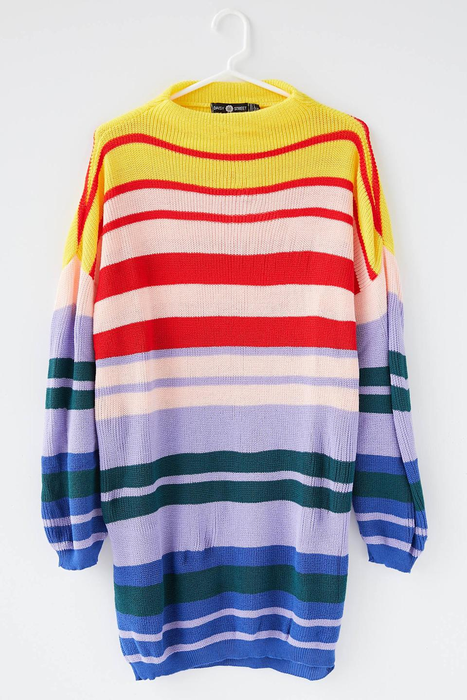 """<h2>Urban Outfitters Daisy Street Striped Knit Sweater Dress</h2><br>Whether it's hype-driven loungewear collabs or minimal slipdresses, Urban Outfitters boasts a crop of comfy-cool staples that keeps us browsing its online pages well even though we've aged out of its target demographic. Among the strappy 90s-inspired micro-minis that populate the ranks of this youthful retailer lurks this cheerful, 100% cotton sweater dress. We can see this frock providing a much-needed endorphin boost when the days get really short and gray.<br><br><strong>Daisy Street</strong> Daisy Street Striped Knit Sweater DressStriped Knit Swe, $, available at <a href=""""https://go.skimresources.com/?id=30283X879131&url=https%3A%2F%2Fwww.urbanoutfitters.com%2Fshop%2Fdaisy-street-striped-knit-sweater-dress%3Fcategory%3Dcasual-dresses%26color%3D095%26type%3DREGULAR%26quantity%3D1"""" rel=""""nofollow noopener"""" target=""""_blank"""" data-ylk=""""slk:Urban Outfitters"""" class=""""link rapid-noclick-resp"""">Urban Outfitters</a>"""