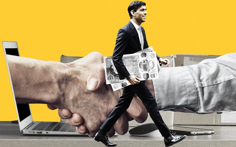 Rishi Sunak with money and two hands shaking - The Telegraph