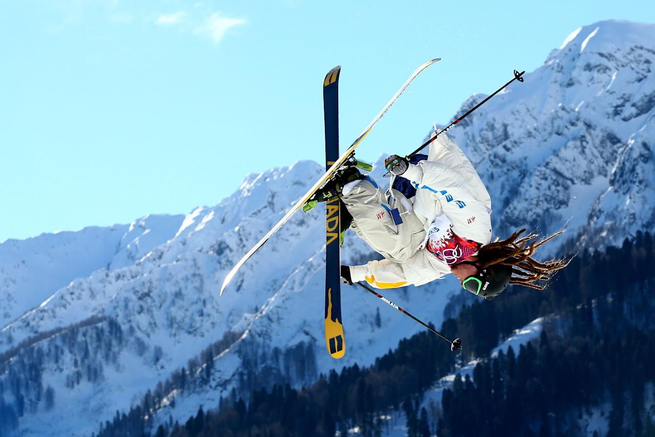 SOCHI, RUSSIA - FEBRUARY 13: Henrik Harlaut of Sweden competes in the Freestyle Skiing Men's Ski Slopestyle Qualification during day six of the Sochi 2014 Winter Olympics at Rosa Khutor Extreme Park on February 13, 2014 in Sochi, Russia. (Photo by Cameron Spencer/Getty Images)