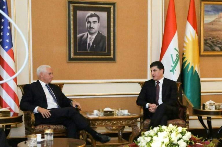 US Vice President Mike Pence (L) meets Iraqi Kurdish President Nechirvan Barzani in Arbil, capital of the autonomous Kurdish region, on November 23, 2019 during a visit to Iraq that avoided talks with Baghdad government officials for security reasons