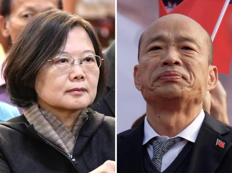 Tsai Ing-wen describes herself as a defender of Taiwan's liberal values, while her rival Han Kuo-yu favours warmer ties with China (AFP Photo/Sam YEH)