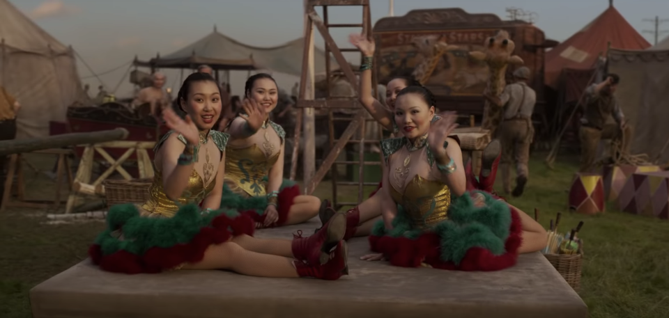 """""""There's four Chinese contortionists… the four girls that are playing them that are from Mongolia,"""" says costume designer Coleen Atwood. """"They've learned a little bit of English, but they're totally Chinese speaking, and lovely girls."""" (Disney)"""