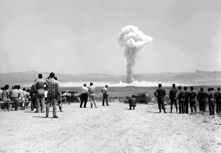 """<span class=""""caption"""">Hundreds of nuclear weapons have been tested by the U.S. since WWII, but newer science has replaced the need for live detonations.</span> <span class=""""attribution""""><a class=""""link rapid-noclick-resp"""" href=""""https://www.gettyimages.com/detail/news-photo/soldiers-and-cameramen-near-the-small-boy-nuclear-test-part-news-photo/568877143?adppopup=true&amp;uiloc=thumbnail_more_search_results_adp"""" rel=""""nofollow noopener"""" target=""""_blank"""" data-ylk=""""slk:Galerie Bilderwelt / Hulton Archive via Getty Images""""> Galerie Bilderwelt / Hulton Archive via Getty Images</a></span>"""