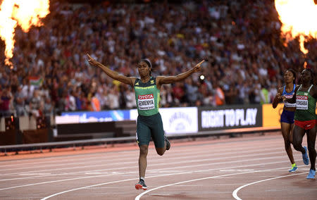 Athletics - World Athletics Championships - Women's 800 Metres - London Stadium, London, Britain – August 13, 2017. Caster Semenya of South Africa celebrates winning the final. REUTERS/Toby Melville