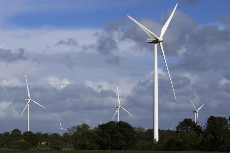 ECO 110 wind turbines manufactured by Alstom are seen in the Landes de Couesme wind farm near La Gacilly