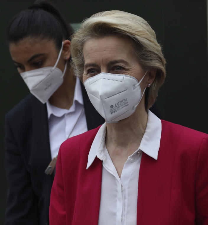"""FILE -- In this April 6, 2021 file photo European Commission President Ursula von der Leyen leaves after a joint news conference with EU Council President Charles Michel after talks with Turkey's President Recep Tayyip Erdogan, in Ankara, Turkey. Turkey demanded Friday that Italy's premier apologize for having called President Tayyip Erdogan a """"dictator,"""" adding fuel to the scandal over the perceived seating snub of the European Commission president and deepening the EU-Turkey rift at the precise moment both sides were hoping for rapprochement. (AP Photo/Burhan Ozbilici)"""