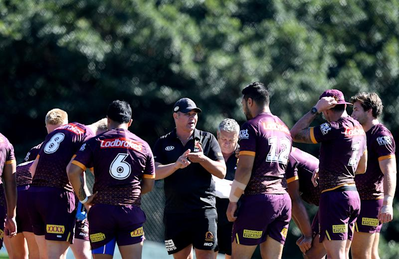 Former coach Anthony Seibold gives instructions to his players during a Brisbane Broncos NRL training session at the Clive Berghofer Centre on July 29, 2020 in Brisbane, Australia.