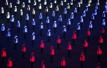 A general view shows the opening ceremony of the 2014 Sochi Winter Olympics, February 7, 2014. REUTERS/Mark Blinch