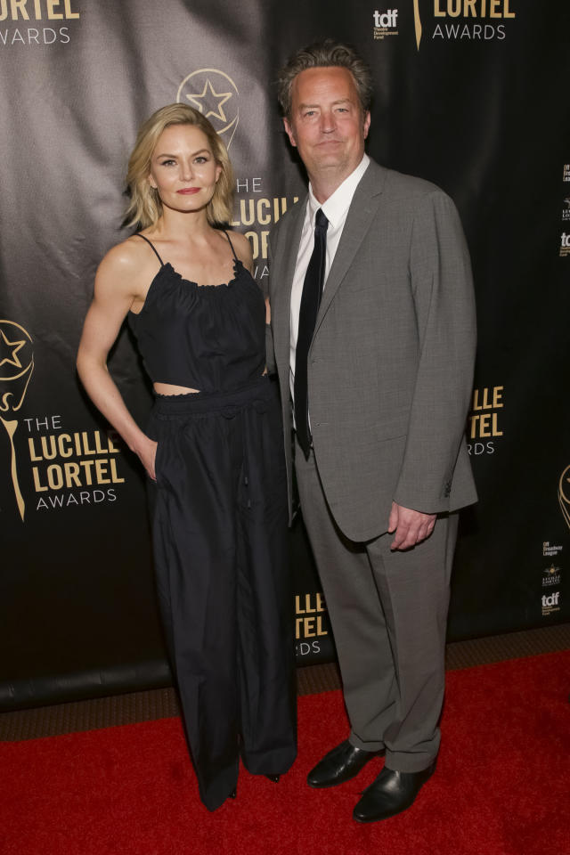 Actress Jennifer Morrison, left, and actor Matthew Perry attend the 32nd Annual Lucille Lortel Awards at the NYU Skirball Center on Sunday, May 7, 2017, in New York.(Photo by Brent N. Clarke/Invision/AP)
