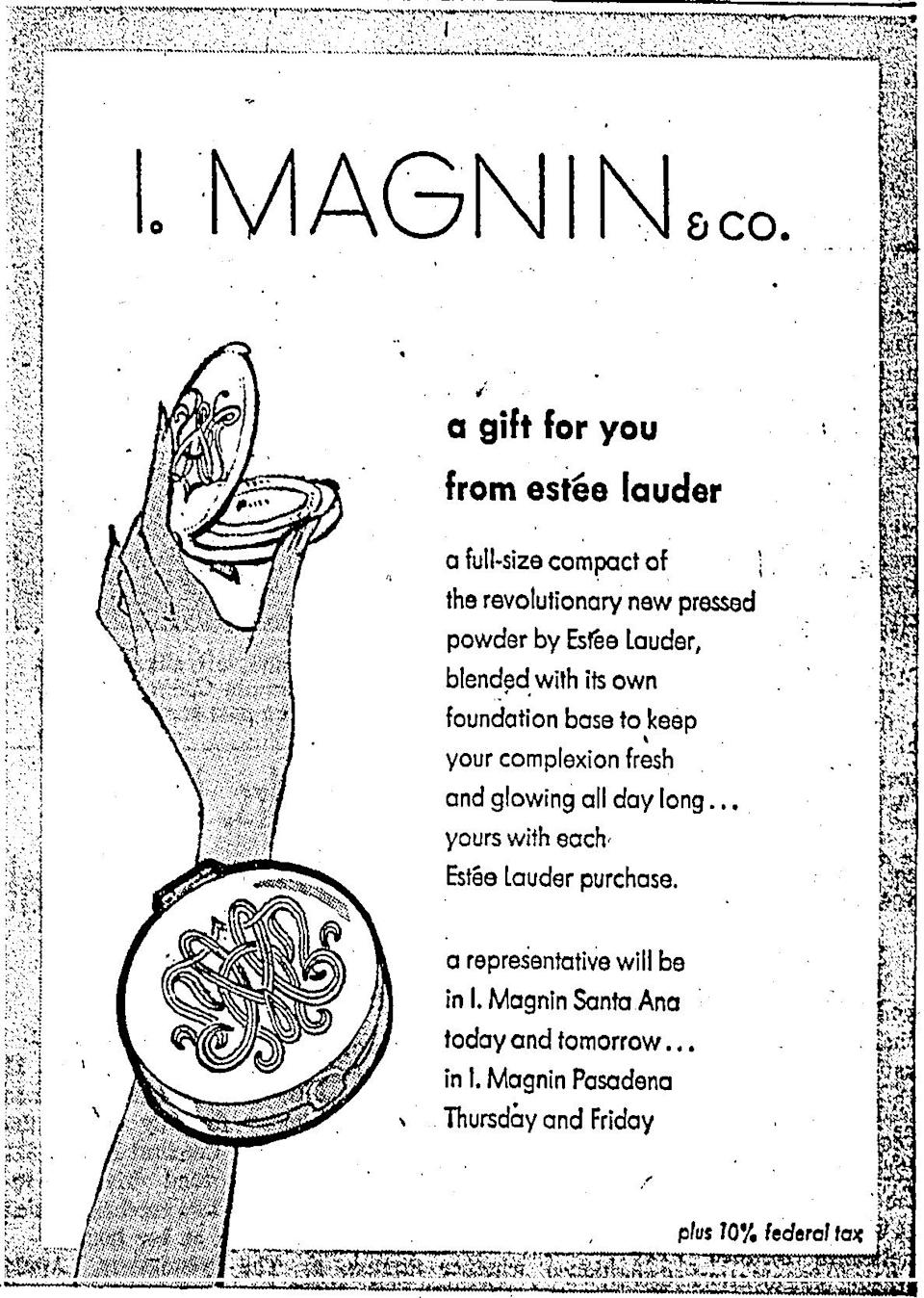 <p>A department store called I. Magnin paid for a portion of this ad to steer customers to their Santa Ana and Pasadena, California locations for free compacts and a meet and greet with a brand representative. <i>(Photo: Estée Lauder)</i></p>
