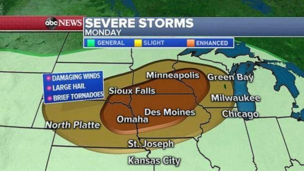 PHOTO: Severe weather is expected in the Upper Midwest on Monday. (ABC News)