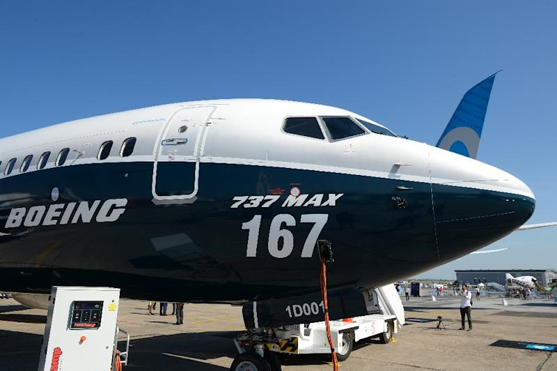 A Boeing 737 Max 9 test plane on the tarmac at the Paris Air Show