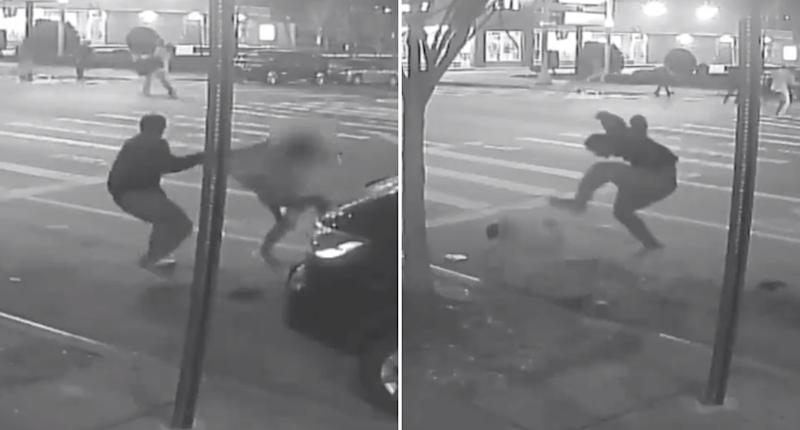 A man is swung by his shirt before another man stomps on him in The Bronx, New York.