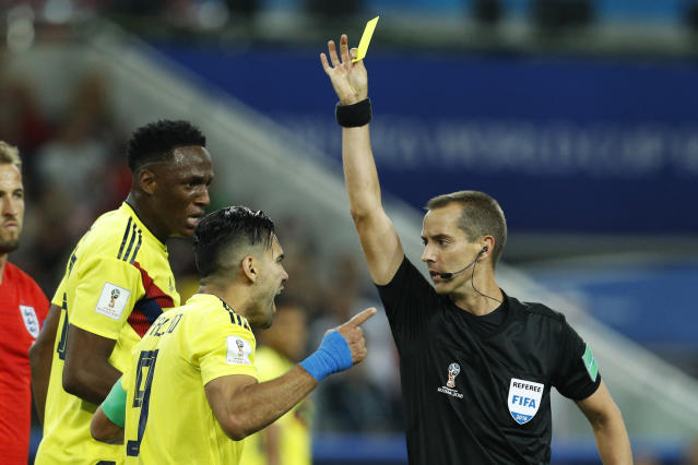 Colombia's Radamel Falcao bluntly accused controversial U.S. referee Mark Geiger of bias toward England after Tuesday's World Cup loss. (AP)