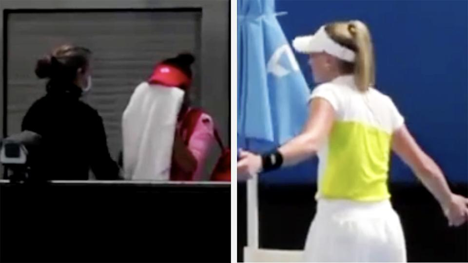Romanian player Mihaela Buzărnescu was left in tears after victorious opponent Jil Teichmann accused her of taking an unnecessary medical timout during the WTA Phillip Island Trophy. Pictures: Twitter