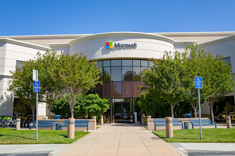 Facade with sign and logo at regional headquarters of computing company Microsoft in the Silicon Valley, Mountain View, California, May 3, 2019. (Photo by Smith Collection/Gado/Getty Images)