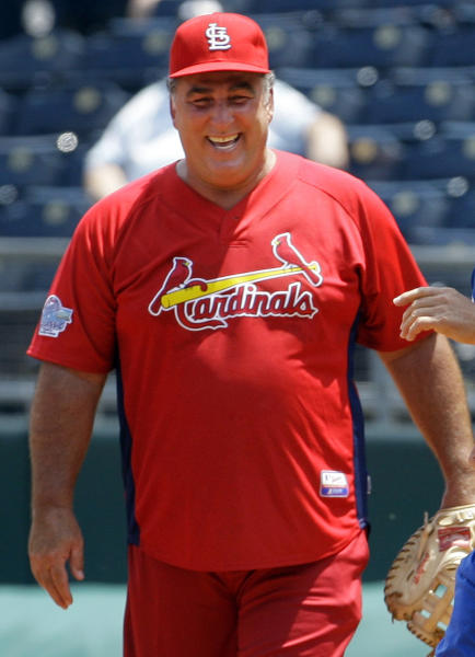 FILE - In this May 22, 2010, file photo, former St. Louis Cardinals baseball player Jack Clark smiles during a softball game against former Kansas City Royals players in Kansas City, Mo. Albert Pujols sued Jack Clark on Friday, Oct. 4, 2013, over comments on a local radio show accusing the three-time NL MVP of using steroids. The lawsuit between former Cardinals stars was filed in Circuit Court in St. Louis County, where Clark lives. It seeks unspecified damages and asks for a determination and declaration that Clark's statements are false. (AP Photo/Orlin Wagner, File)