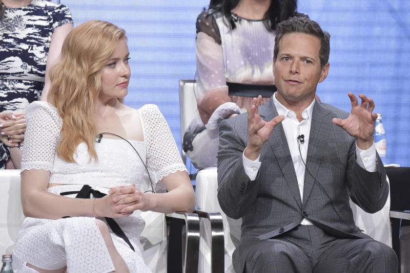 "Kennedy McMann, left, and Scott Wolf participate in The CW ""Nancy Drew"" panel during the Summer 2019 Television Critics Association Press Tour at the Beverly Hilton Hotel on Sunday, Aug. 4, 2019, in Beverly Hills, Calif. (Photo by Richard Shotwell/Invision/AP)"