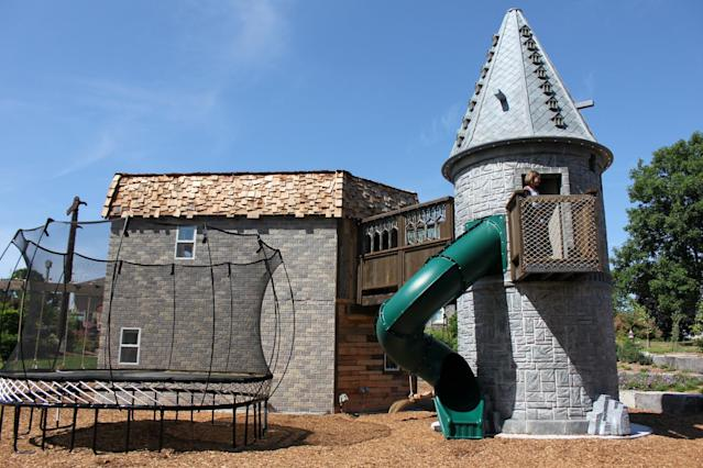 The fortress even includes a slide [Photo: SWNS]
