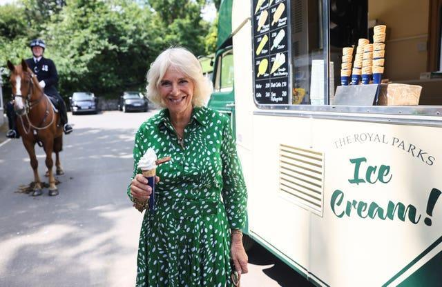 The Duchess of Cornwall with an ice cream