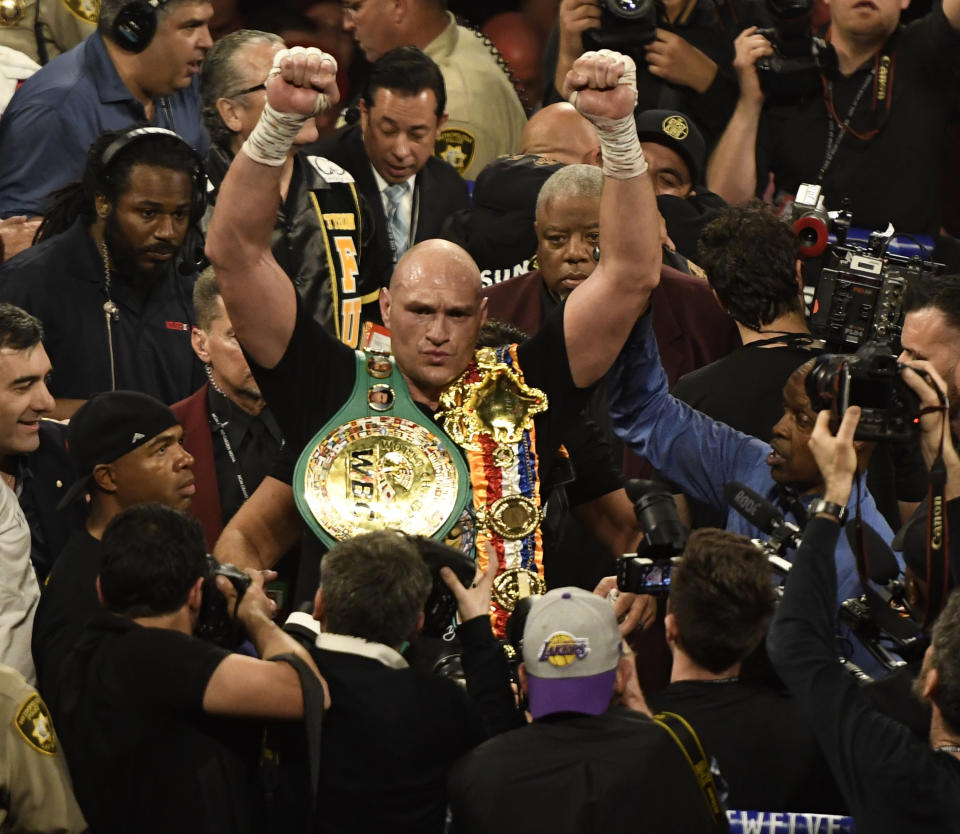 LAS VEGAS, NV - FEBRUARY 22: Tyson Fury holds his belts after going 7 rounds with Deontay Wilder at the MGM Grand Hotel February 22, 2020 in Las Vegas, Nevada. Las Vegas NV. Tyson Fury took the win by win TKO in the 7th round as the towel was thrown in from Wilder's corner for the world heavyweight championship in Las Vegas, Nevada.   (Photo by MB Media/Getty Images)