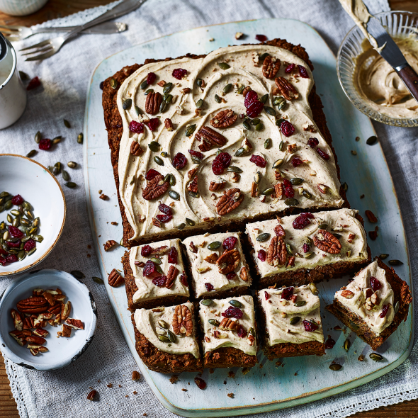 """<p>You wouldn't know this carrot cake recipe is vegan, it's so light and moist.</p><p><strong>Recipe: <a href=""""https://www.goodhousekeeping.com/uk/food/recipes/a575853/vegan-carrot-cake/"""" rel=""""nofollow noopener"""" target=""""_blank"""" data-ylk=""""slk:Vegan carrot cake"""" class=""""link rapid-noclick-resp"""">Vegan carrot cake</a></strong></p>"""