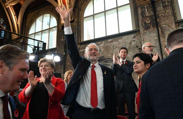 PHOTO: Britain's Labour Party leader Jeremy Corbyn waves as he launches the party's election campaign in south London on October 31, 2019. (Daniel Leal-olivas/AFP via Getty Images)