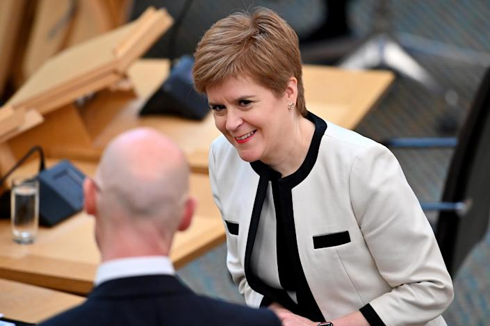 Nicola Sturgeon during First Minister's Questions at the Scottish Parliament, Edinburgh.