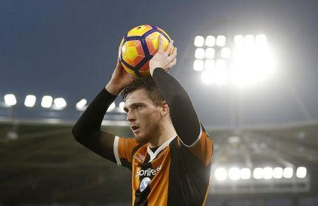 Hull City's Andrew Robertson taking a throw in