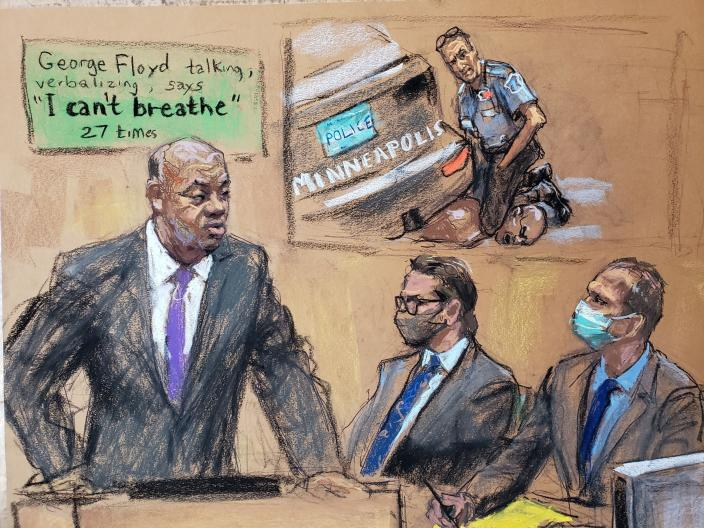 Lawyer Jerry W. Blackwell makes opening statements as defense attorney Eric Nelson sits beside former Minneapolis police officer Derek Chauvin during his trial for second-degree murder, third-degree murder and second-degree manslaughter in the death of George Floyd in Minneapolis, Minnesota, U.S., March 29, 2021 in this courtroom sketch from a video feed of the proceedings. REUTERS/Jane Rosenberg