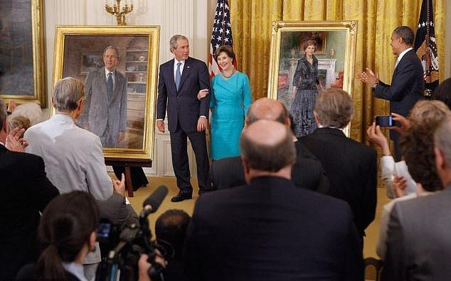 Obama said when he hosted former President George W. Bush and first lady Laura Bush for their portrait unveiling in 2012 - Getty