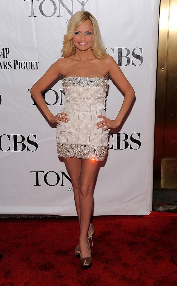 """Kristin Chenoweth, the tiny Broadway diva with the big voice, strutted her stuff in a bedazzled strapless mini and feathered 'do, Jemal Countess/<a href=""""http://www.wireimage.com"""" target=""""new"""">WireImage.com</a> - June 13, 2010"""
