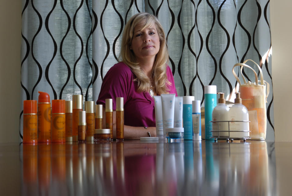 Jennifer Maron, lawyer and mother of three children, with her Arbonne products. (Photo by Jim Rankin/Toronto Star via Getty Images)