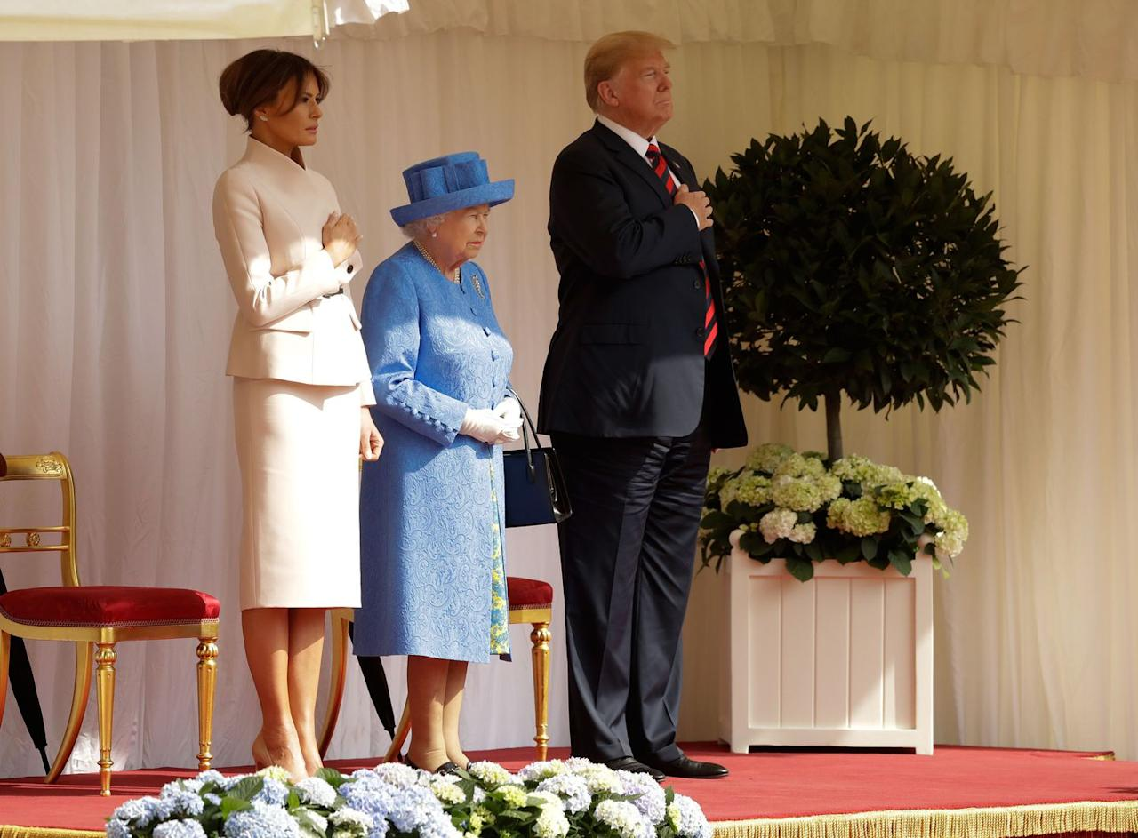 <p>Melania wore a belted cream suit to accompany her husband on his meeting with the 92-year-old monarch. The Queen has met every US president since 1952, except Lyndon Johnson.</p>
