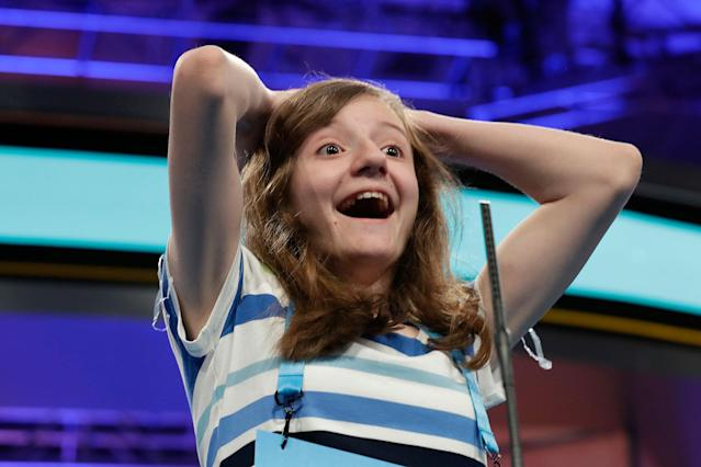 <p>Maggie Sheridan, 13, of Mansfield, Ohio, reacts in disbelief on hearing that she spelled her word correctly with one second to spare during the 90th Scripps National Spelling Bee in Oxon Hill, Md., Thursday, June 1, 2017. (AP Photo/Jacquelyn Martin) </p>