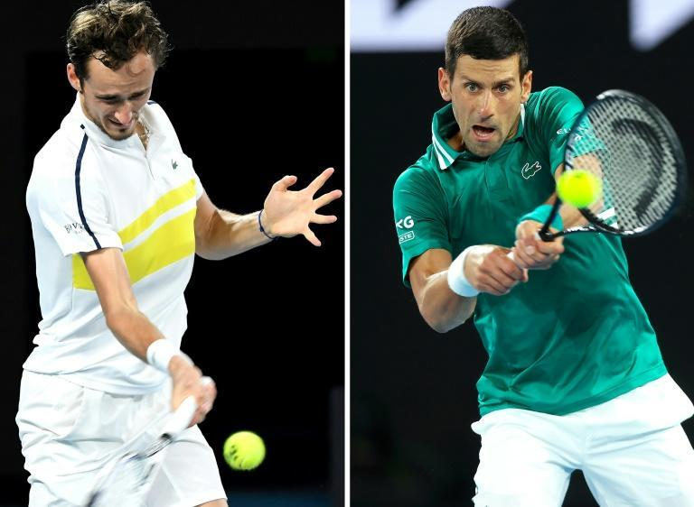 Chess player versus King of Melbourne: Daniil Medvedev (left) will attempt to become the first player to beat Novak Djokovic (right) in an Australian Open final on Sunday