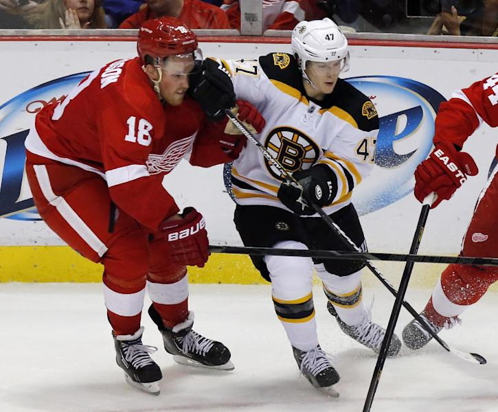 Detroit Red Wings center Joakim Andersson (18) takes a glove to the face from Boston Bruins defenseman Torey Krug in the third period of a preseason NHL hockey game Saturday, Sept. 21, 2013 in Detroit. The Bruins won 2-0. (AP Photo/Duane Burleson)