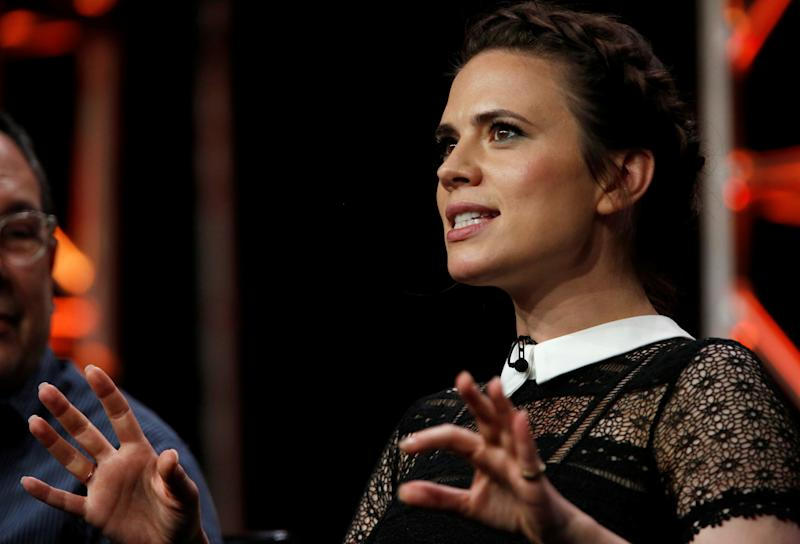 "Cast member Hayley Atwell speaks at a panel for the television series ""Conviction"" during the TCA Disney ABC Summer Press Tour in Beverly Hills, California U.S., August 4, 2016. REUTERS/Mario Anzuoni"