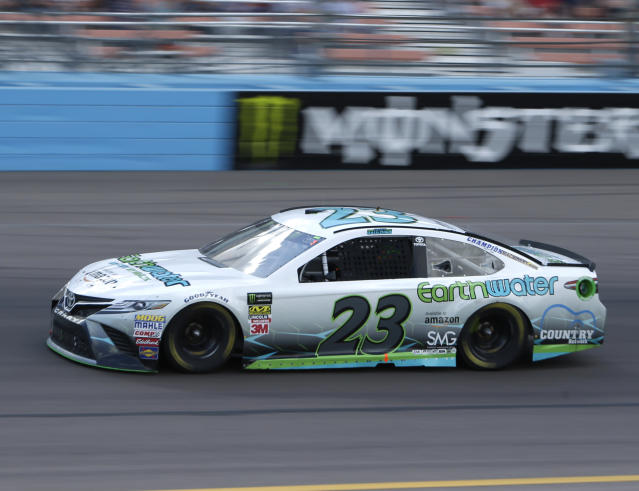 "Monster Energy NASCAR Cup Series driver <a class=""link rapid-noclick-resp"" href=""/nascar/sprint/drivers/3534/"" data-ylk=""slk:Gray Gaulding"">Gray Gaulding</a> (23) during a NASCAR Cup Series auto race on Sunday, March 11, 2018, in Avondale, Ariz. (AP Photo/Rick Scuteri)"