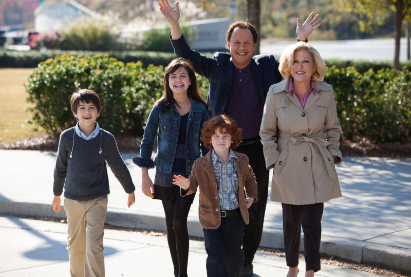 """This undated publicity photo released by Twentieth Century Fox and Walden Media shows Billy Crystal as Artie and Bette Midler as Diane, who agree to babysit their three grandkids, from left, Joshua Rush as Turner, Bailee Madison as Harper and Kyle Harrison Breitkopf as Barker in a scene from the film, """"Parental Guidance."""" (AP Photo/Twentieth Century Fox/Walden Media, Kerry Hayes)"""