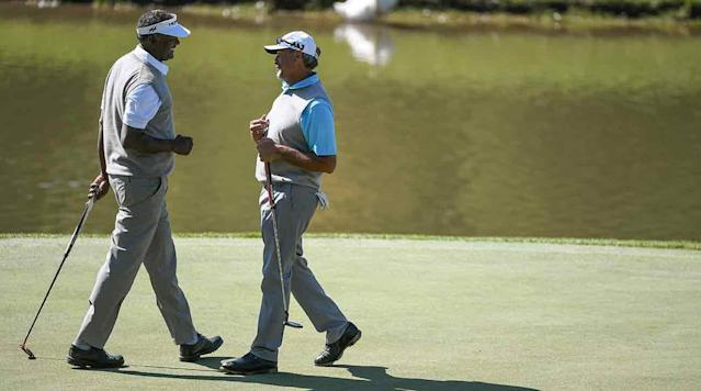 RIDGEDALE, Mo. (AP) -- Carlos Franco and Vijay Singh teamed to shoot a course-record 12-under par on Sunday to rally from seven shots behind and win the PGA Tour Champions' Bass Pro Shops Legends of Golf at Big Cedar Lodge.