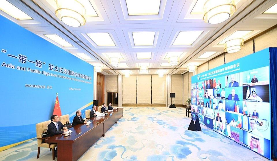 Chinese Foreign Minister Wang Yi presides over the Asia and Pacific High-level Conference on Belt and Road Cooperation via video link in Beijing on Thursday. Photo: Xinhua