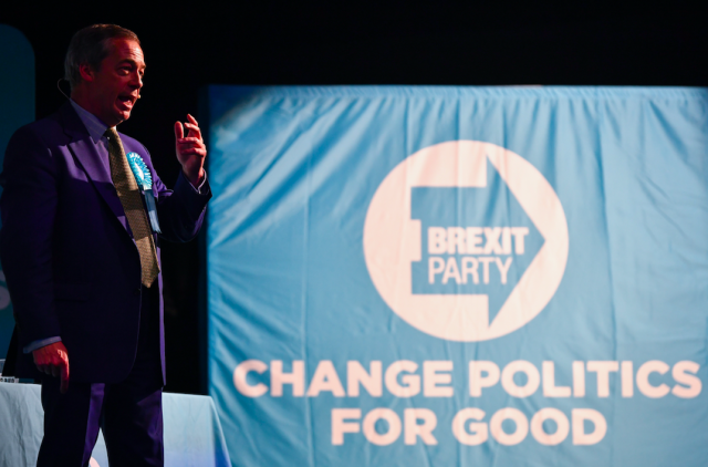 """Winning the European Elections just weeks after it was formed, <a href=""""https://uk.news.yahoo.com/tagged/brexit-party/"""" data-ylk=""""slk:the Brexit Party"""" class=""""link rapid-noclick-resp""""><strong>the Brexit Party</strong></a> were briefly the most popular party in the country, according to the polls. However, their future is now uncertain after failing to win seats at the General Election and Brexit likely to happen in January. (Getty)"""