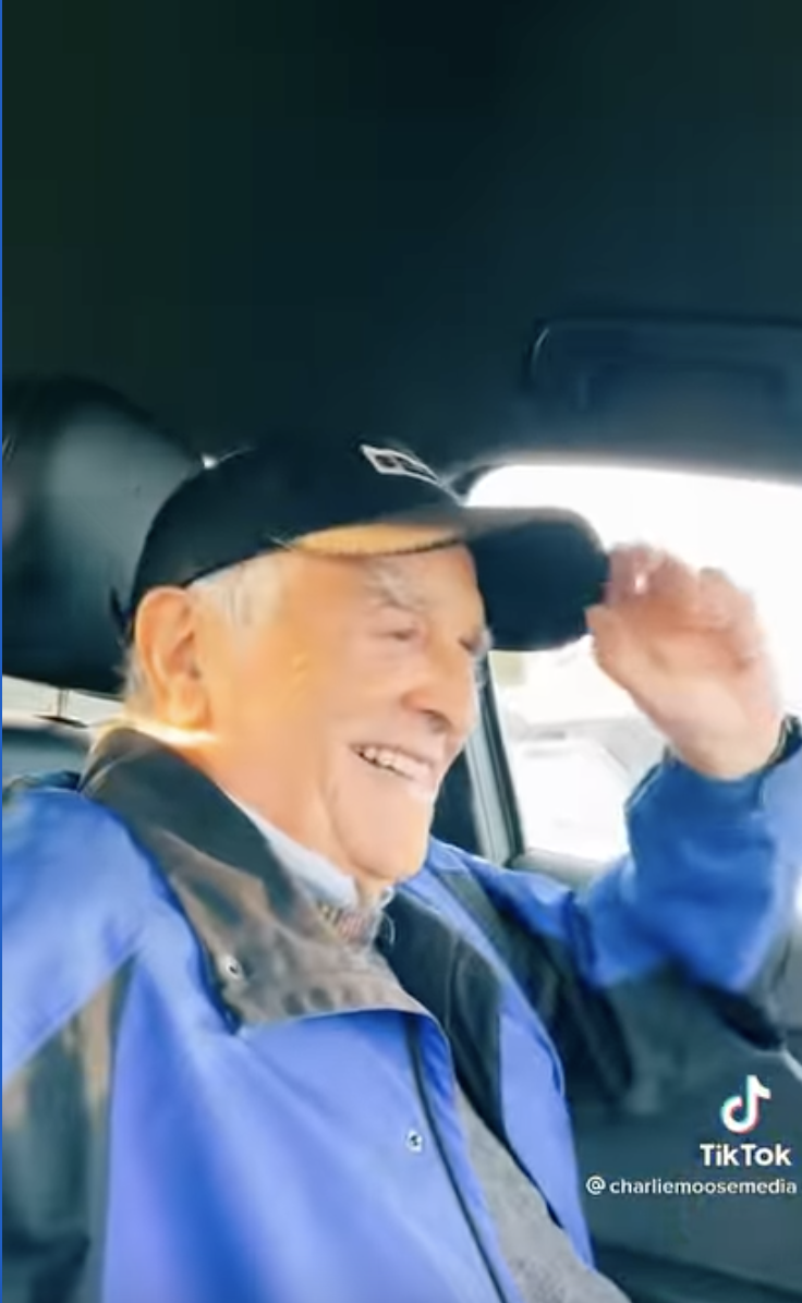 Grandpa with dementia on his way to The Greatest Showman